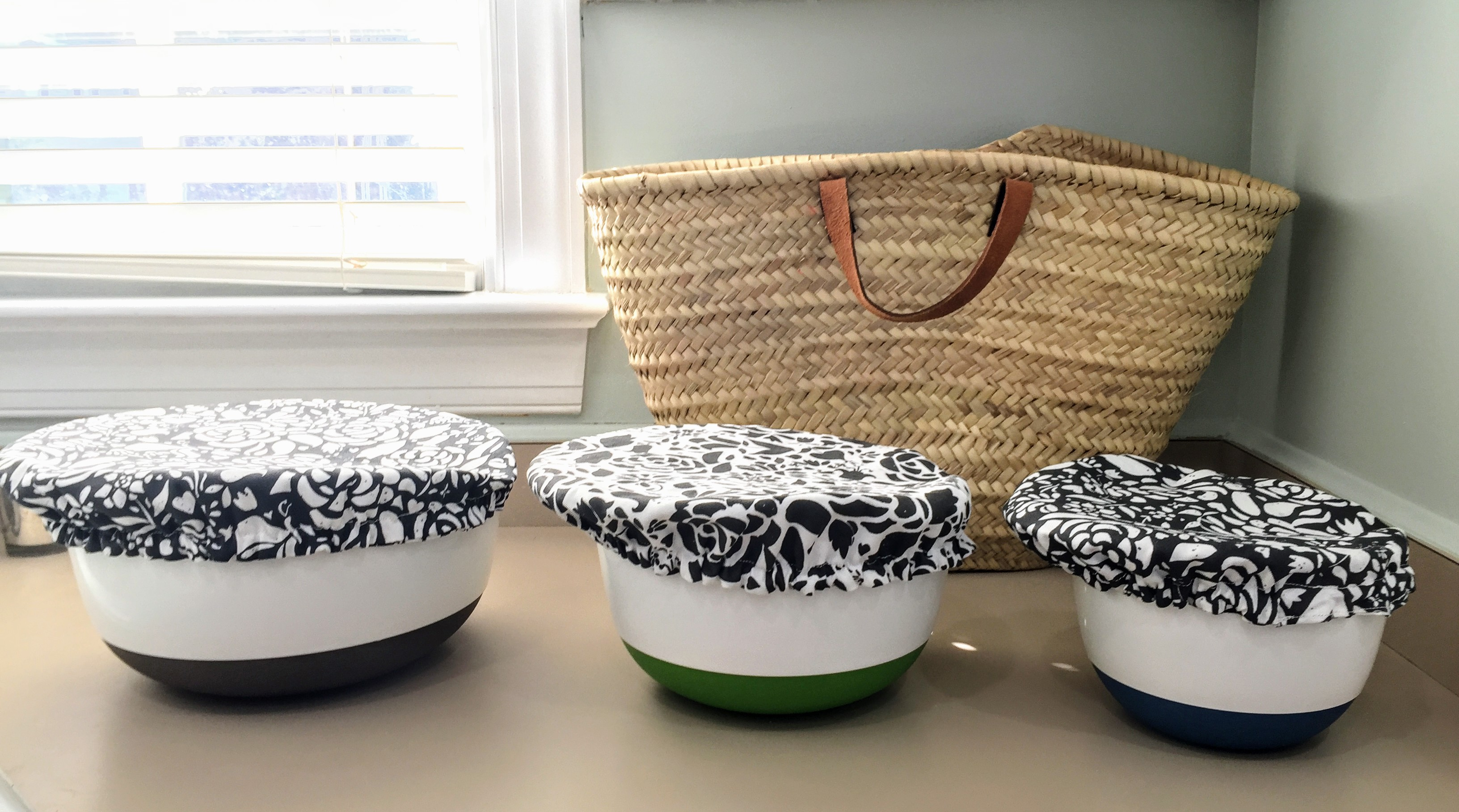 Three bowls with three pretty new bowl covers
