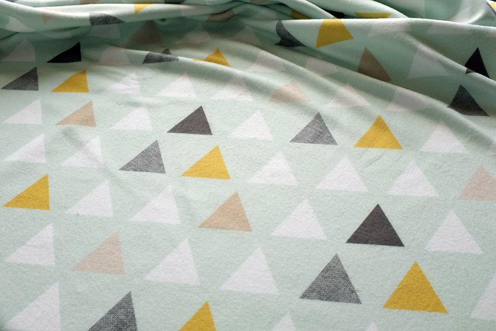Mod Mint Traingles Fleece fabric on Spoonflower