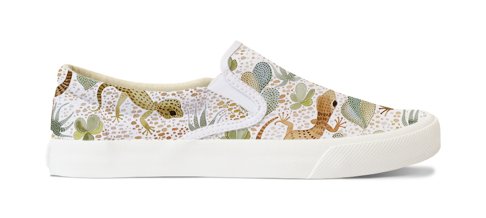 "A mockup of ""Painted Desert Geckos"" on a pair of Bucketfeet slip-on shoes."