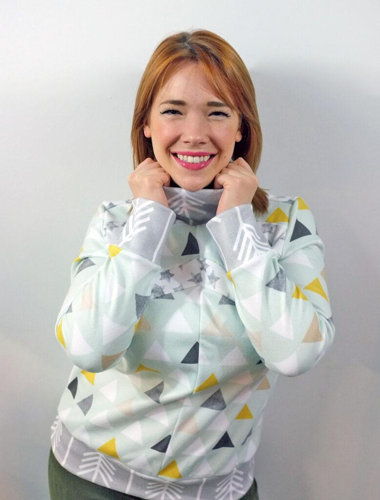 woman in a fleece pullover