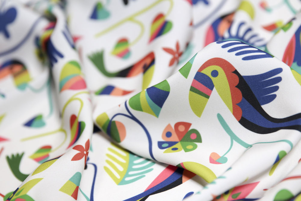 """Otomi Toucan"" by Chris Jorge printed on Spoonflower's vibrant Silky Faille"