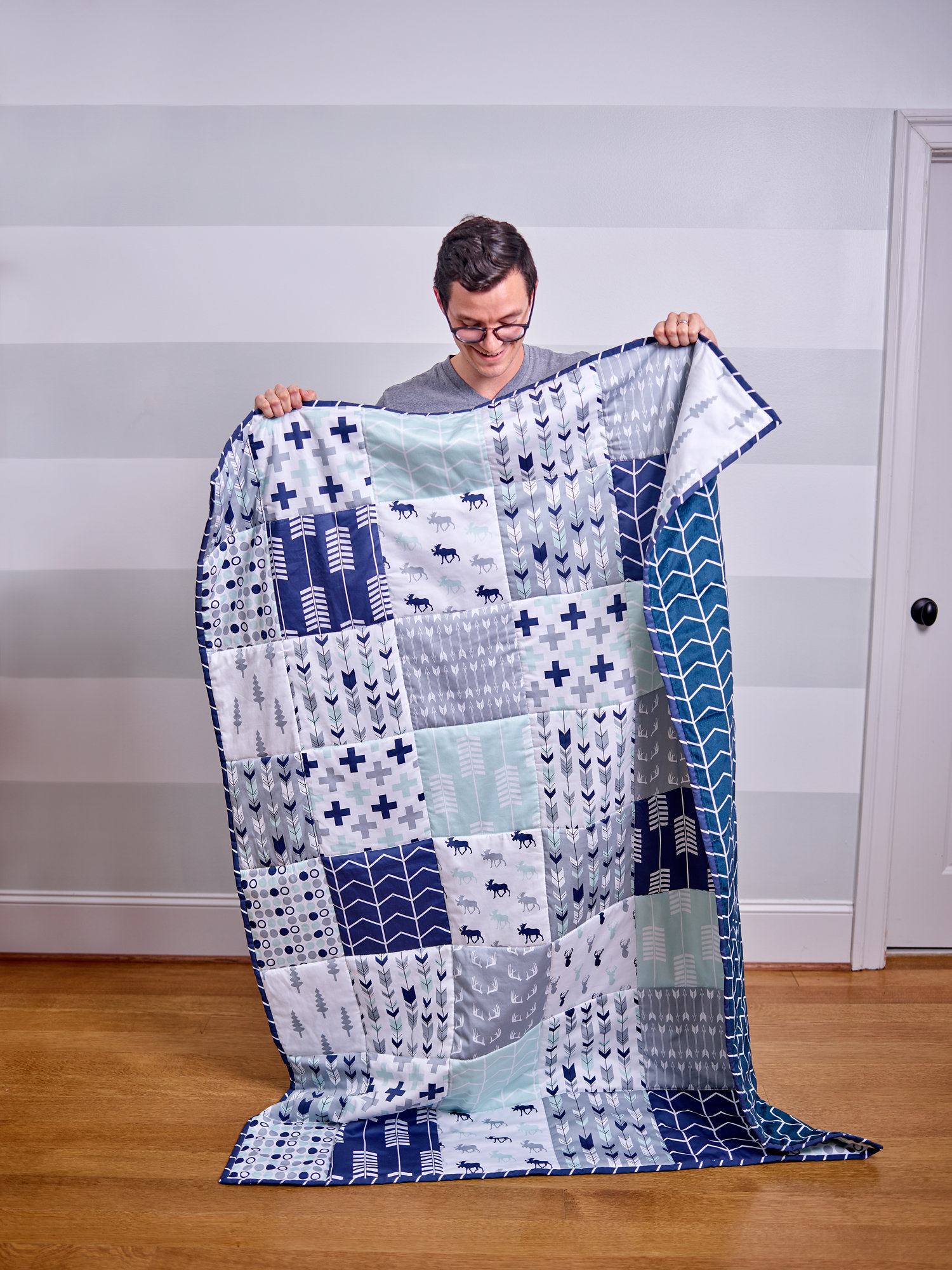 Northern Lights Collection by Littlearrowdesign cheater quilt