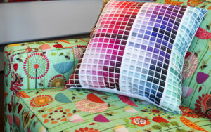 A cuddly (and useful) color map pillow made with a Spoonflower color map