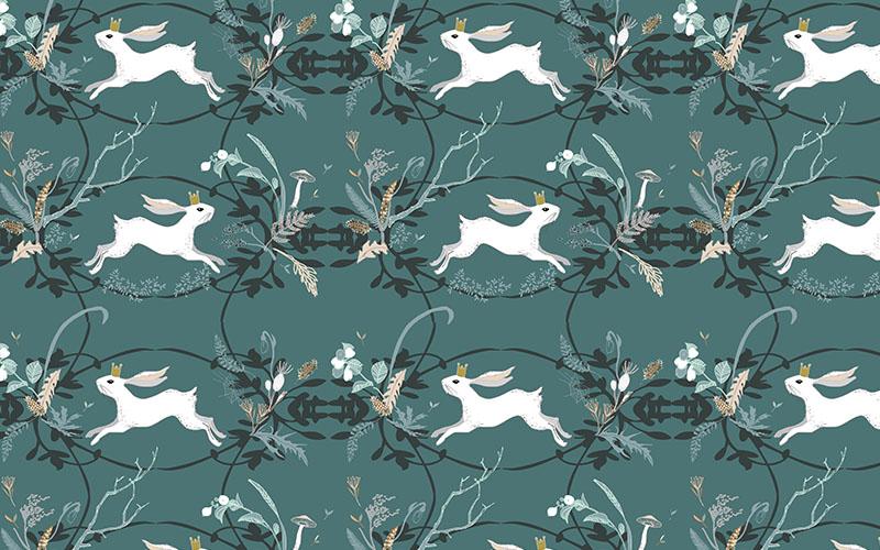 Rabbit Teal by Nouveau_Bohemian