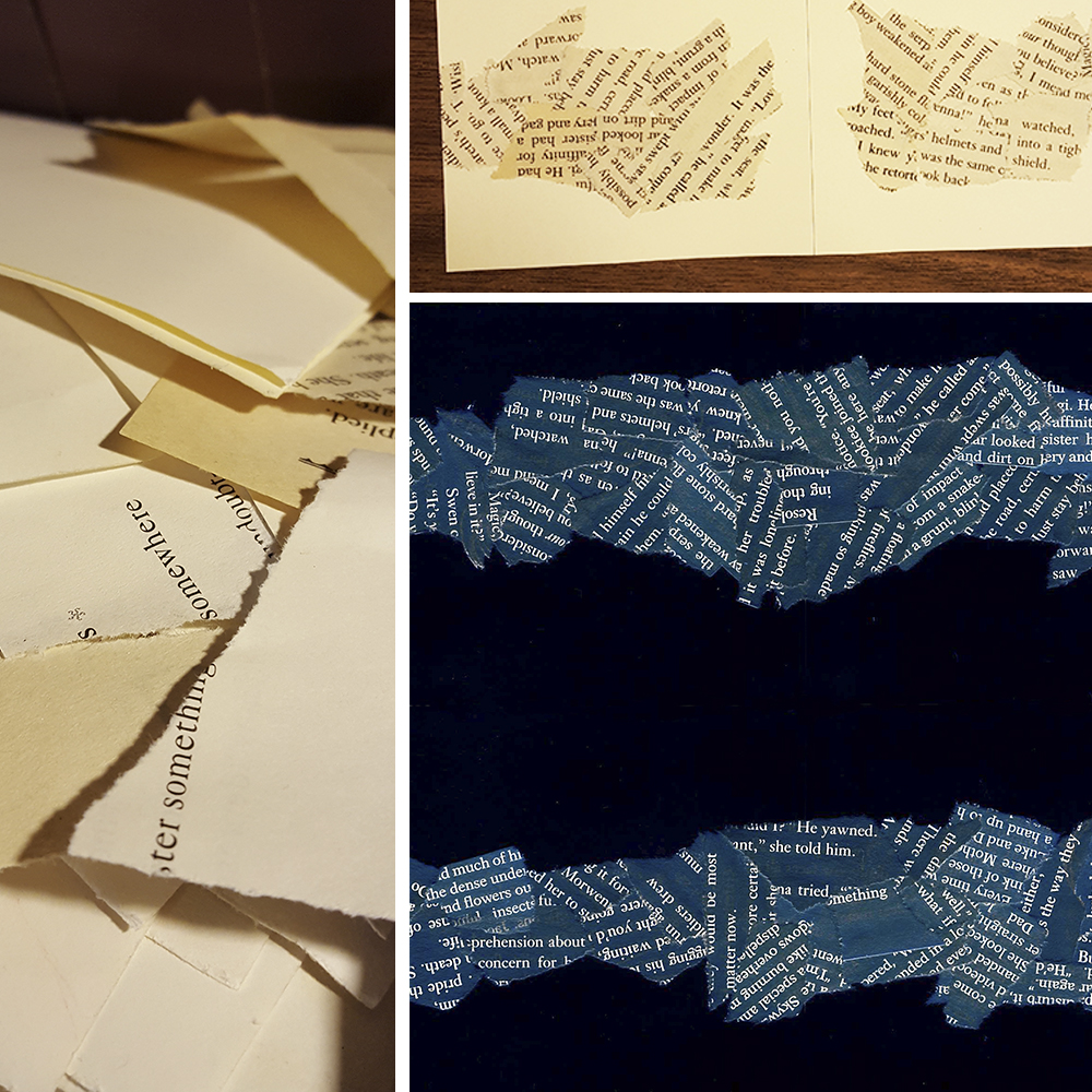 Leah creates her entry with recycled pages from old books.