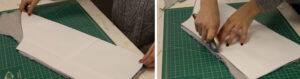 Cutting out our raglan pattern