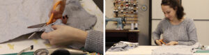 Cutting down the arms, shoulders, and side seams of the raglan