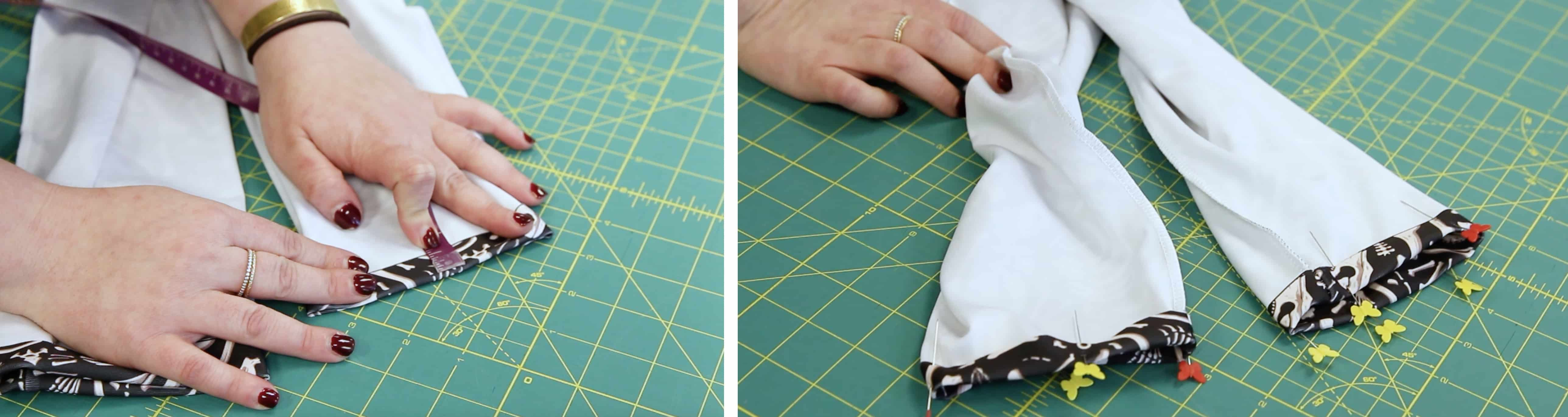 "Folding up the leggings 1/2"" and pinning in place 