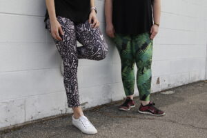 Two pairs of finished Sloan Leggings in the wild