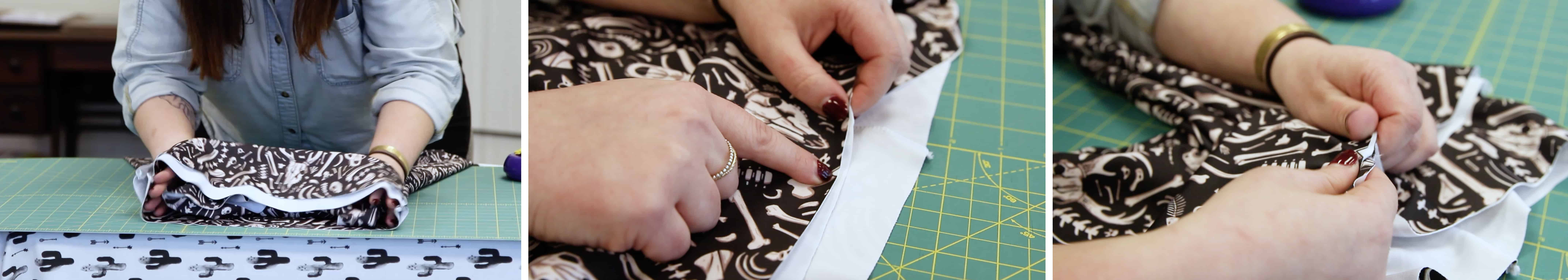 Pinning the sewn waistband/lining to our leggings | Spoonflower Blog