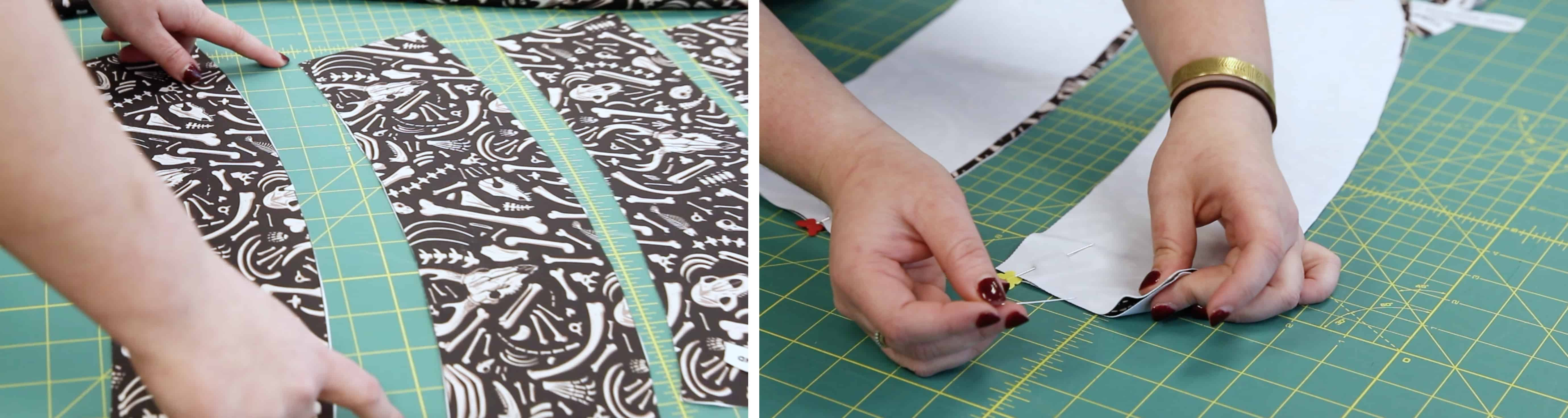 Pinning Waistband pieces in place and sewing together | Spoonflower Blog