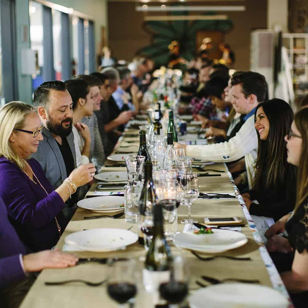 50 guests dined outside the Spoonflower print room