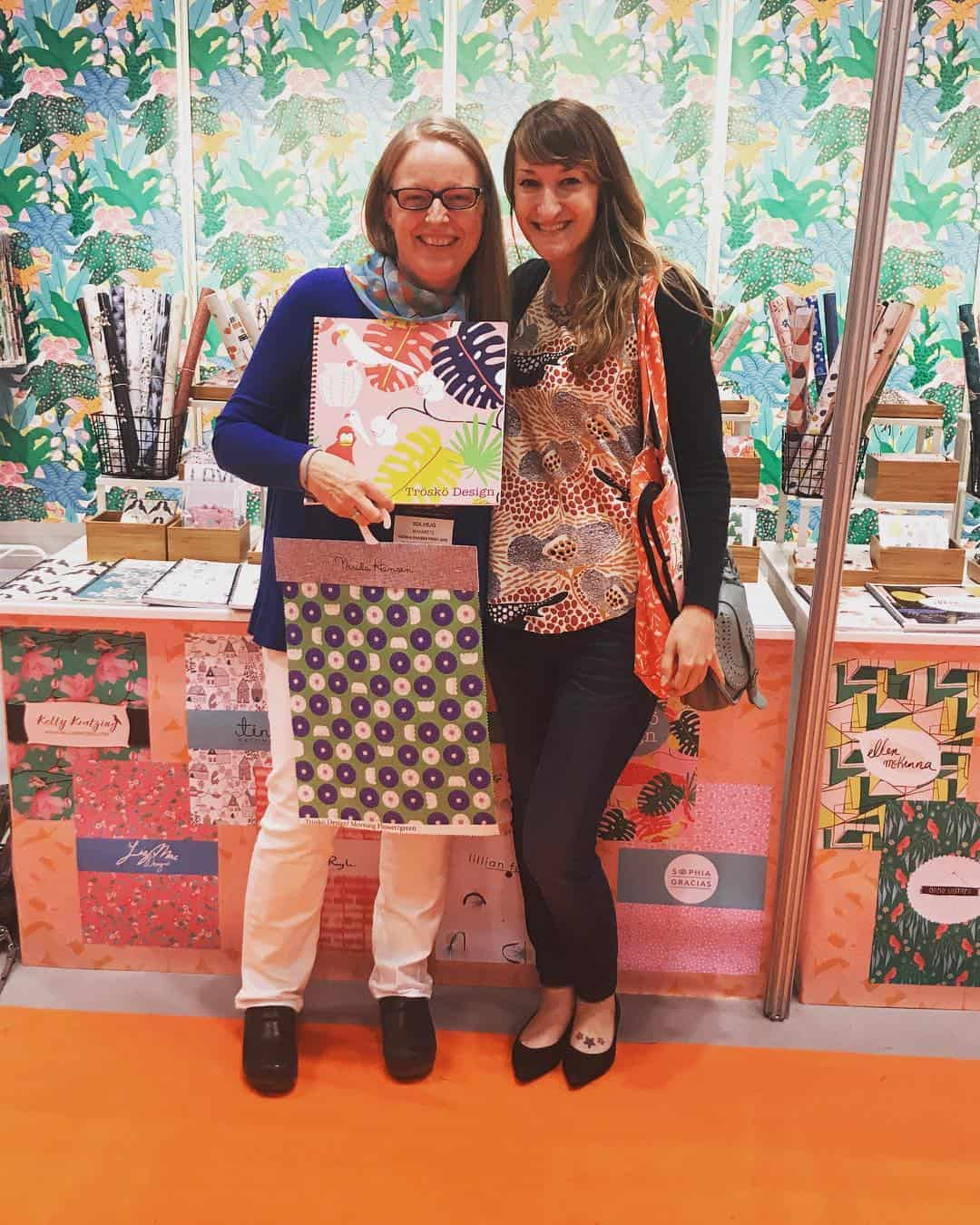Tara enjoys a stop to meet Spoonflower designer Solvejg Makaretz