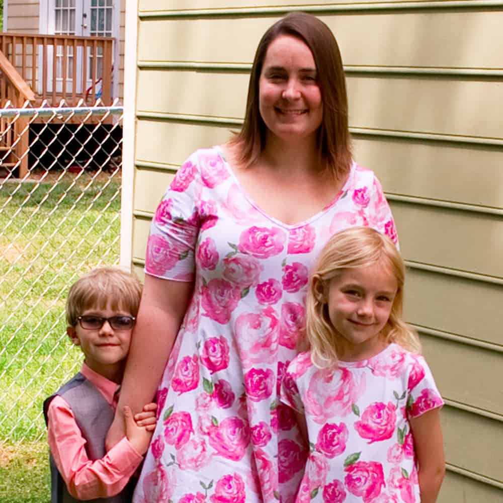 Beckie and her family in matching watercolor floral prints