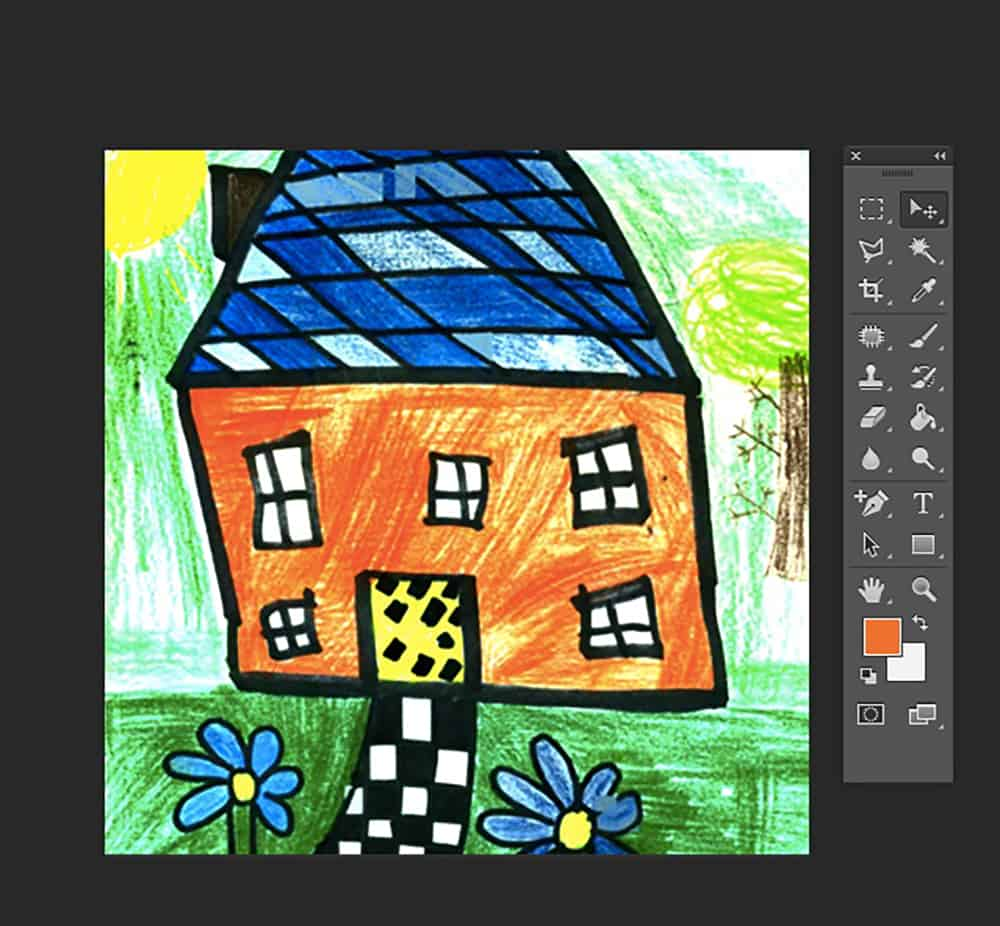 Place your scanned artwork onto your Photoshop canvas
