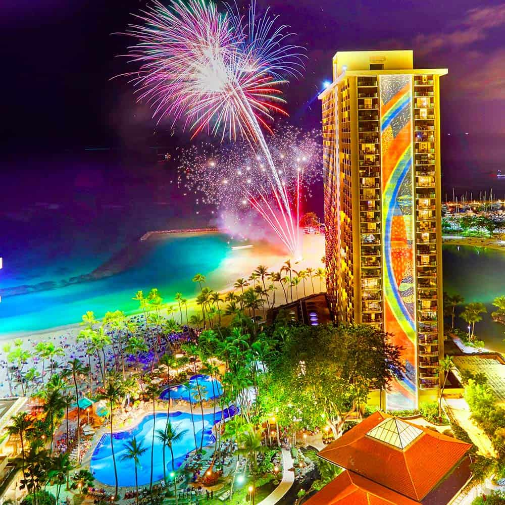 The Rainbow Tower and fireworks at the Hilton Hawaiian Village Waikiki Beach Resort