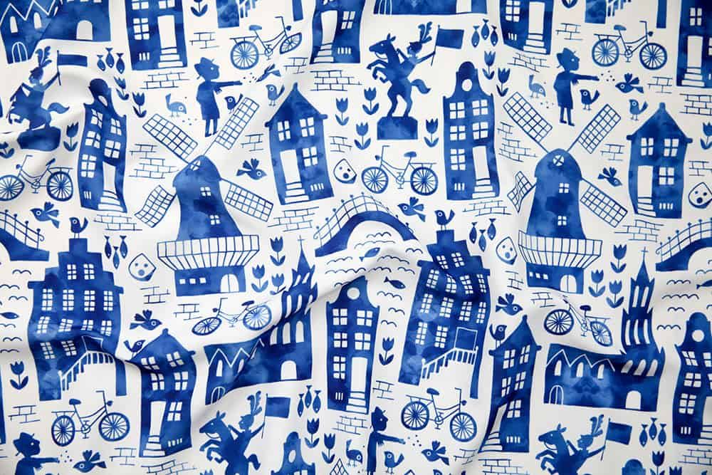 """Holland in royal Delft blue watercolors"" by heleen_vd_thillart is the winner in the Whimsical Watercolor Cityscapes design challenge!"