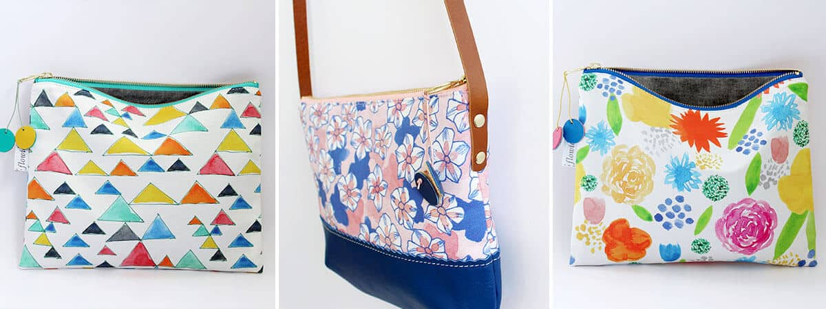 Two brightly colored pouches and a floral bag from Flowie