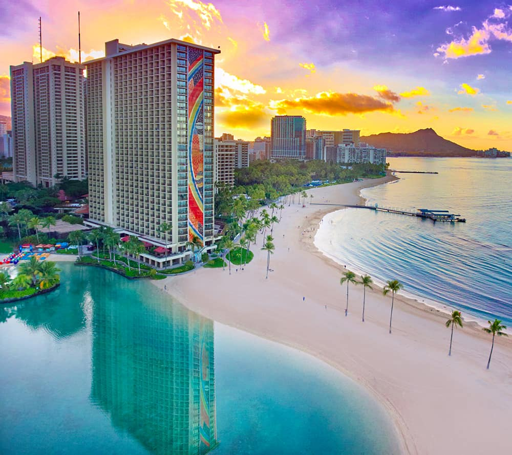 The iconic Rainbow Tower at Hilton Hawaiian Village Waikiki Beach Resort