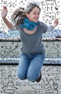 Samarra Khaja aka SammyK leaping for joy | Spoonflower Blog