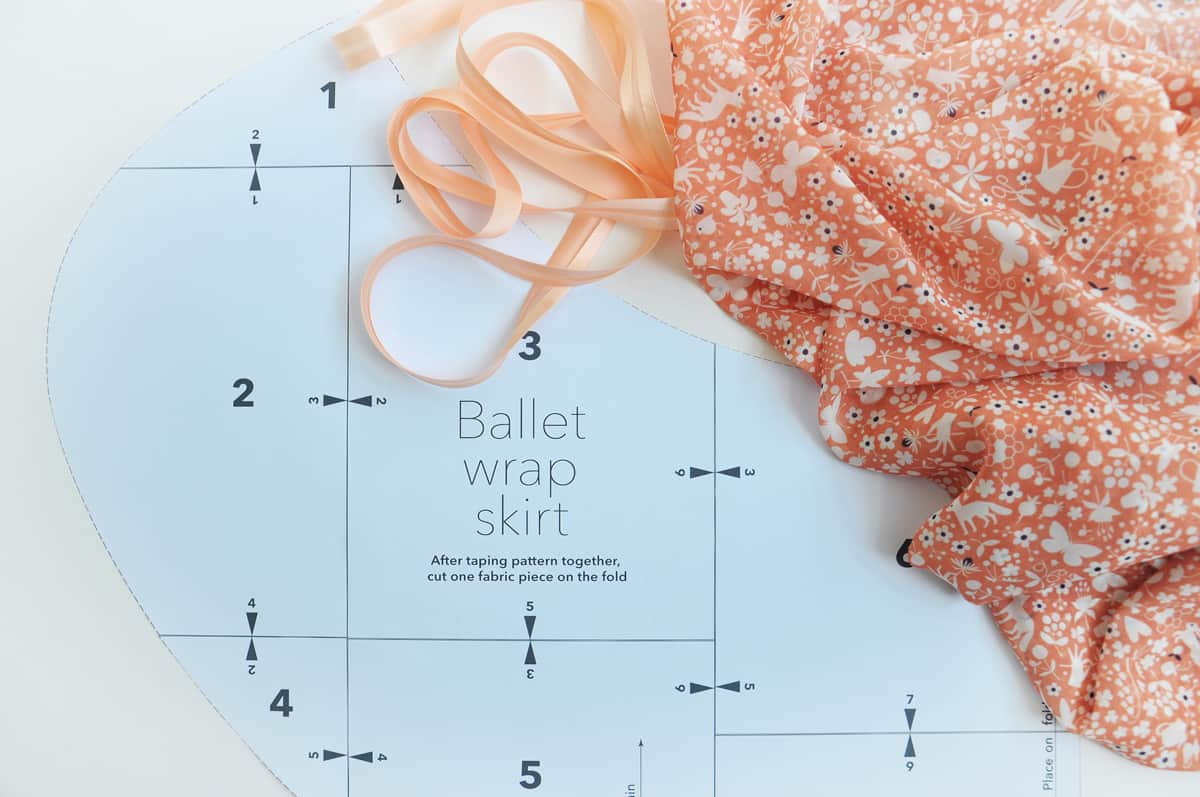 Ballet wrap skirt and printed pattern pieces