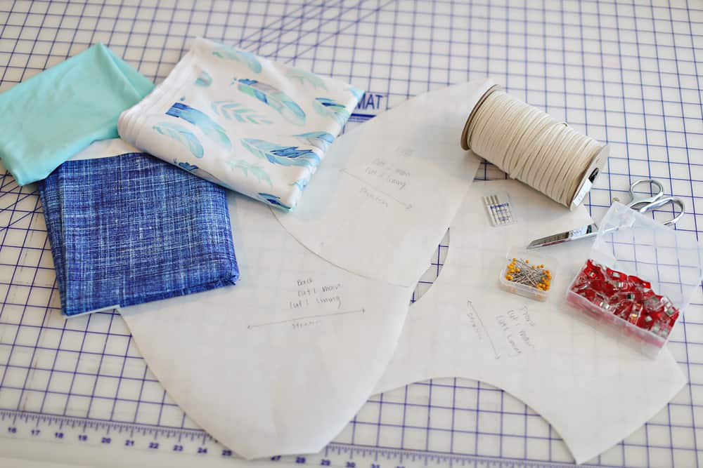 Materials : pattern pieces, swim elastic, stretch needles, pins or sewing clips and your Spoonflower sport lycra fabric.