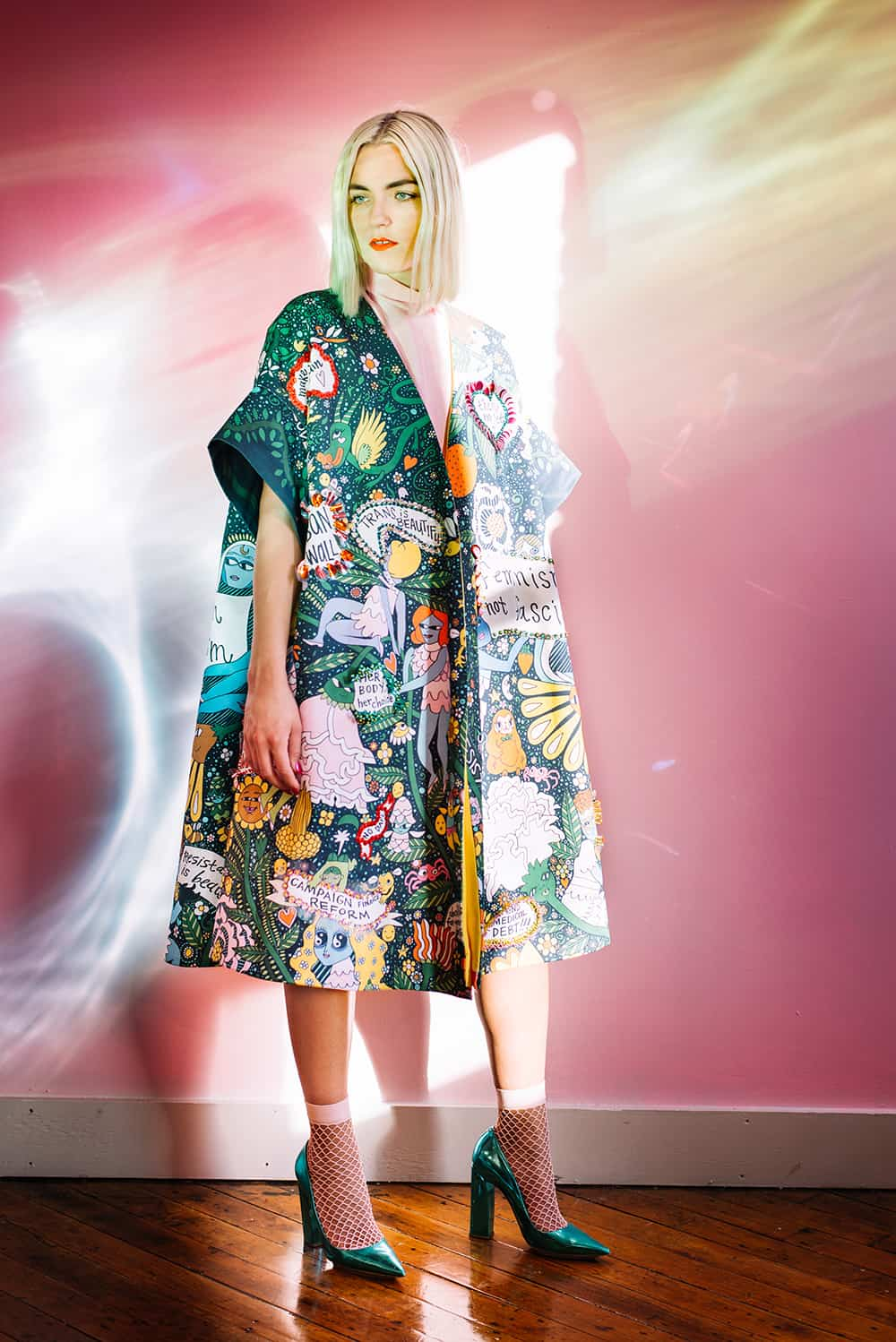 Erin Robertson models a couture coat printed on heavy cotton twill