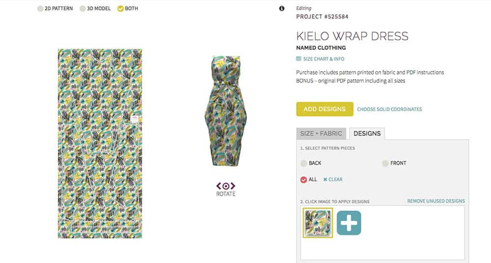 Kielo Wrap Dress 3D preview on Sprout Patterns