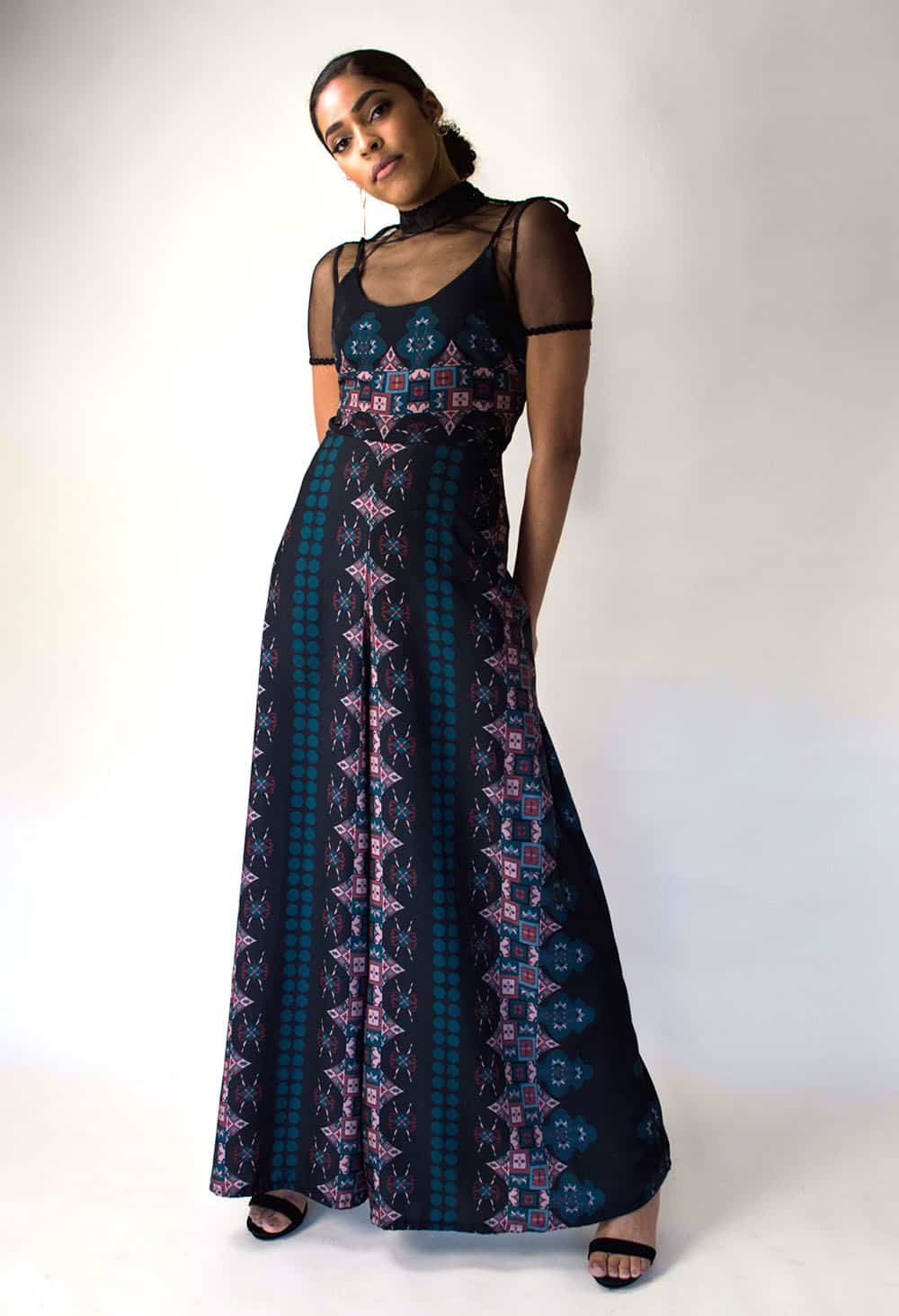 A floor length dress from R'bonney Gabriel's collection