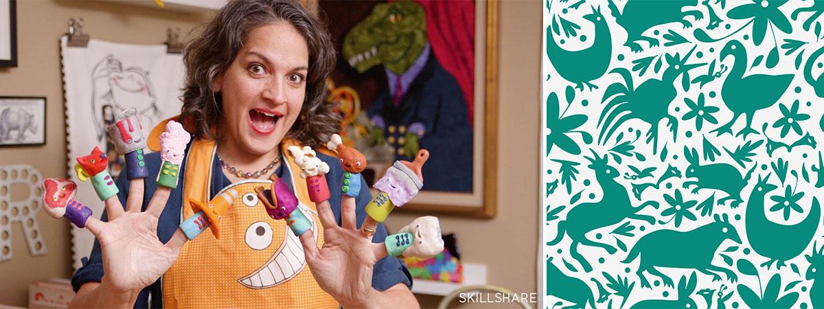 Samarra Khaja aka SammyK holding finger puppets | Spoonflower Blog