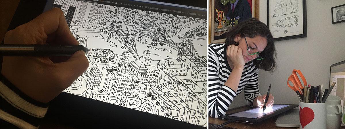 Samarra Khaja aka SammyK illustrating a cityscape | Spoonflower Blog
