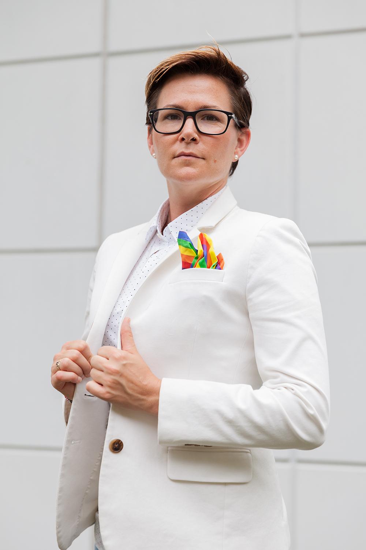 White blazer, rainbow pocket square, fierce style | Spoonflower blog