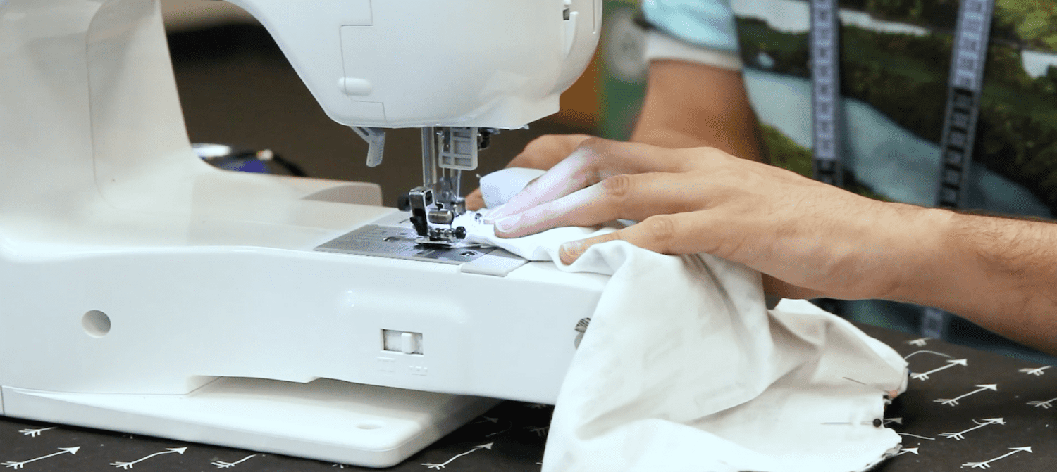 Sewing the sleeves on our baby tee | Spoonflower Blog