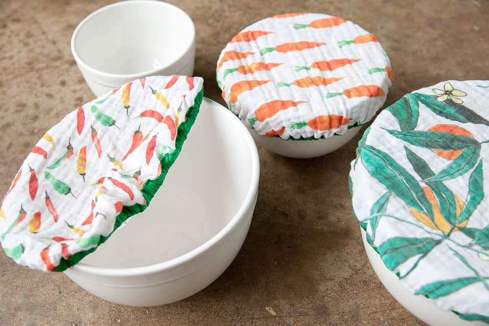 DIY Organic Sweet Pea Gauze bowl covers | Spoonflower Blog