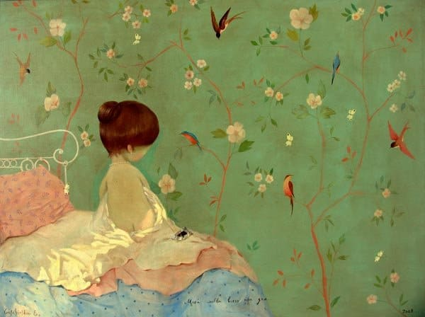Painting of girl against a green wall | Spoonflower Blog