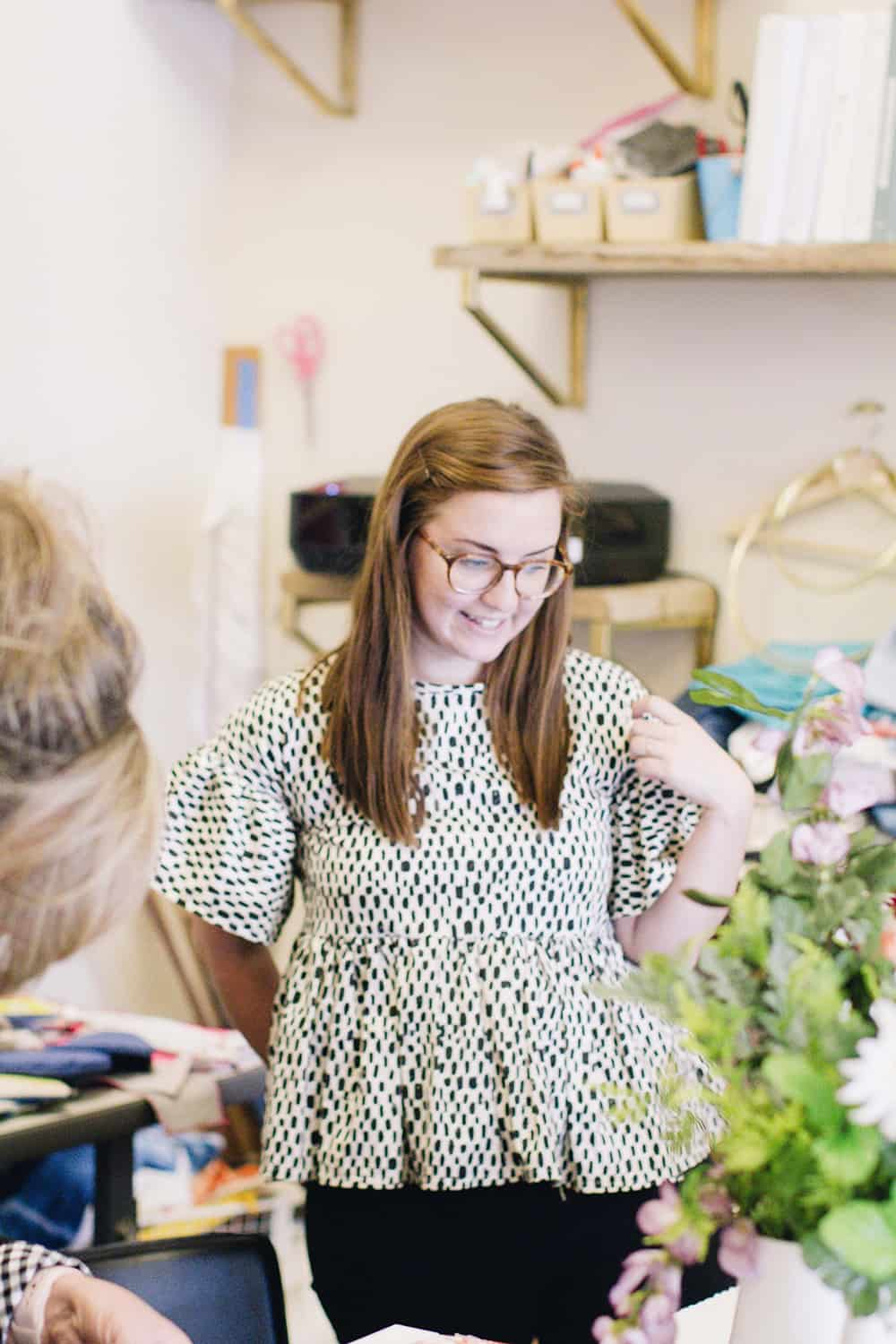 Leah assists students throughout the fabric design workshop | Spoonflower Blog