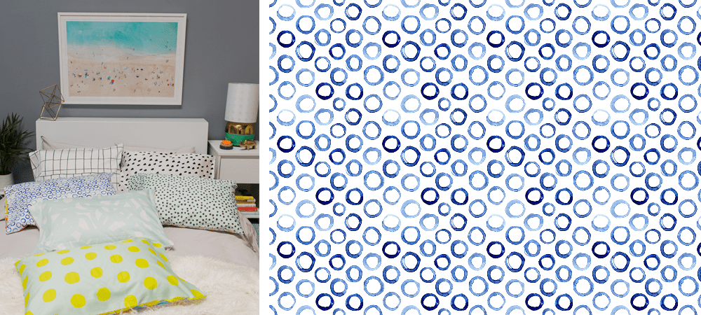 Katerina's Watercolor Circles design featured in Oh Joy's pillow tutorial