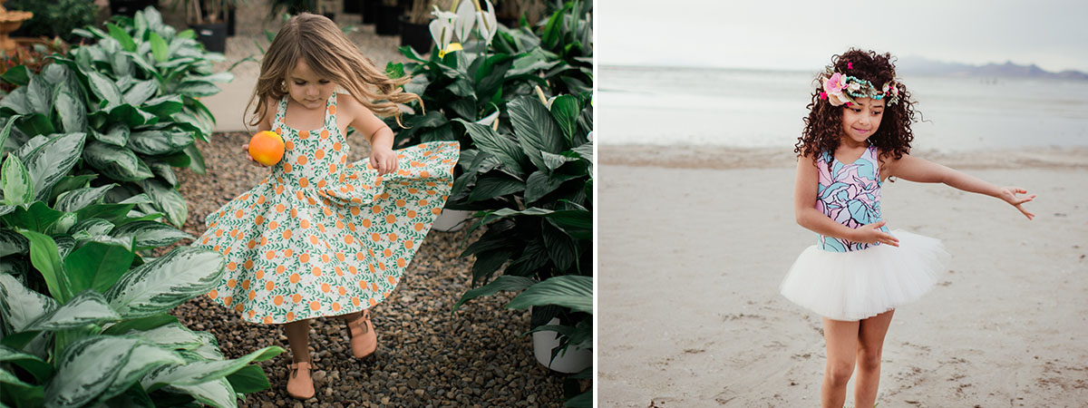 Girl in orange print dress and girl in tutu | Meet the Maker: Annie Casale | Spoonflower Blog