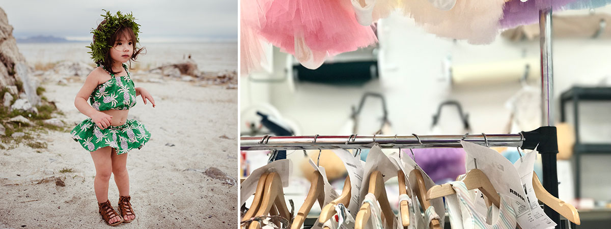 Girl in Hawaiian print 2-piece outfit & hangers on a rack   Meet the Maker: Annie Casale   Spoonflower Blog