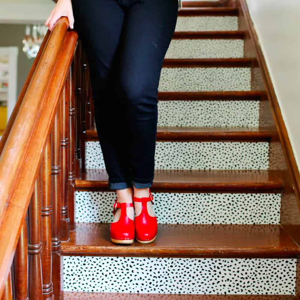 Wallpaper your stairs for a quick pop of style   Spoonflower Blog