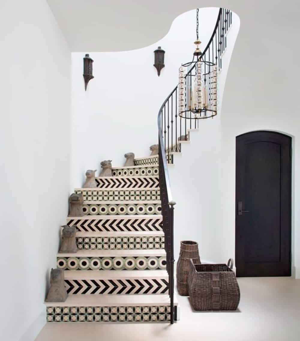 Impress guests with a faux tile staircase | Spoonflower Blog