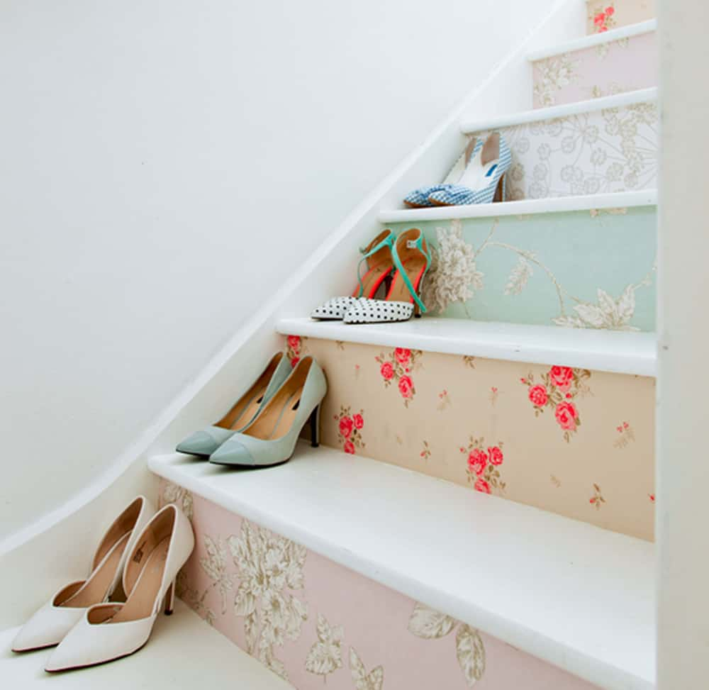 Floral wallpaper designs make for dainty stairs | Spoonflower Blog