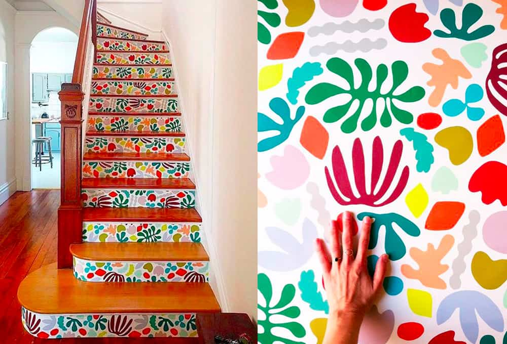Make a dramatic entrance with wallpaper covered stairs | Spoonflower Blog