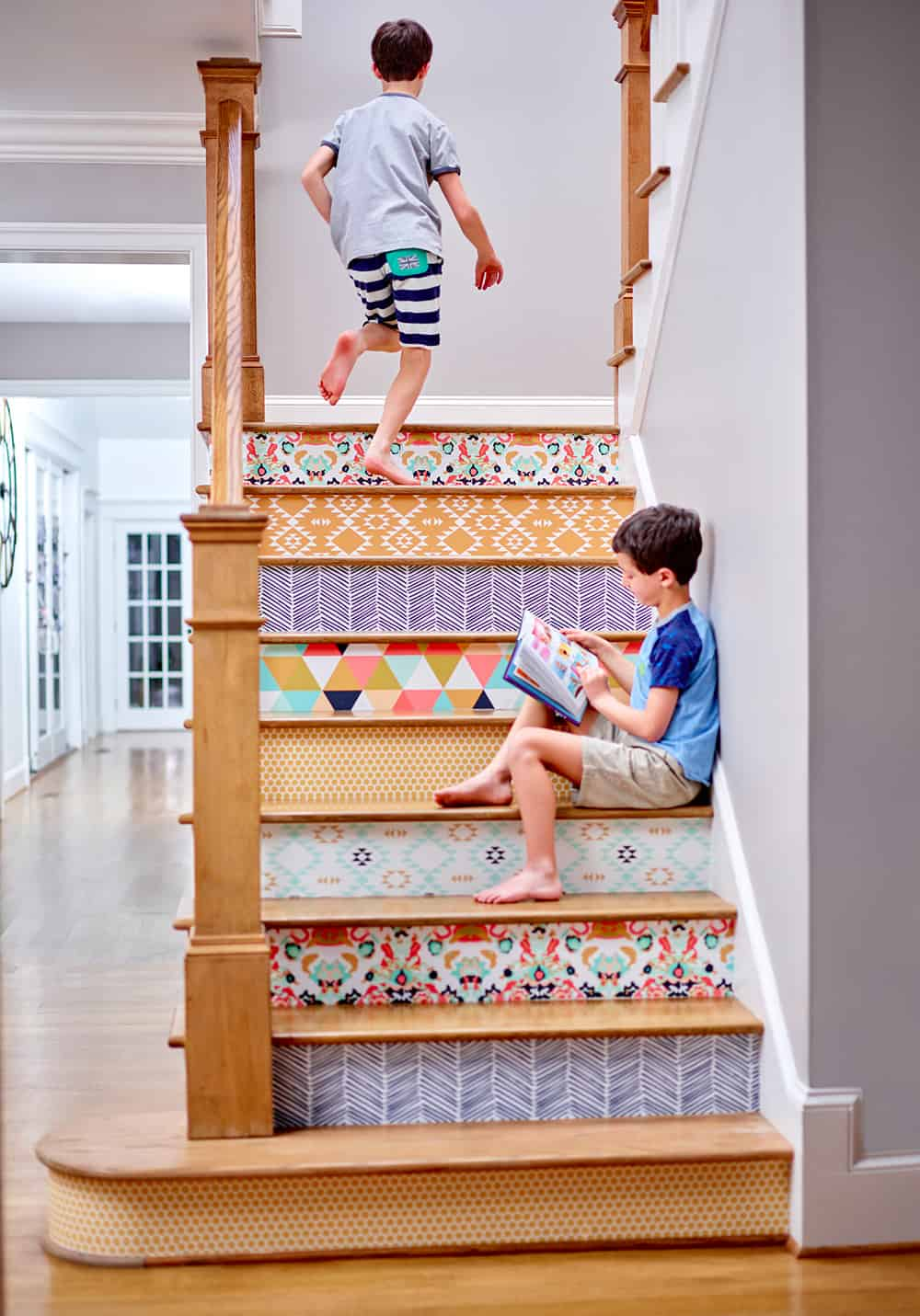 Brighten your way with Spoonflower wallpaper on your stairs | Spoonflower Blog