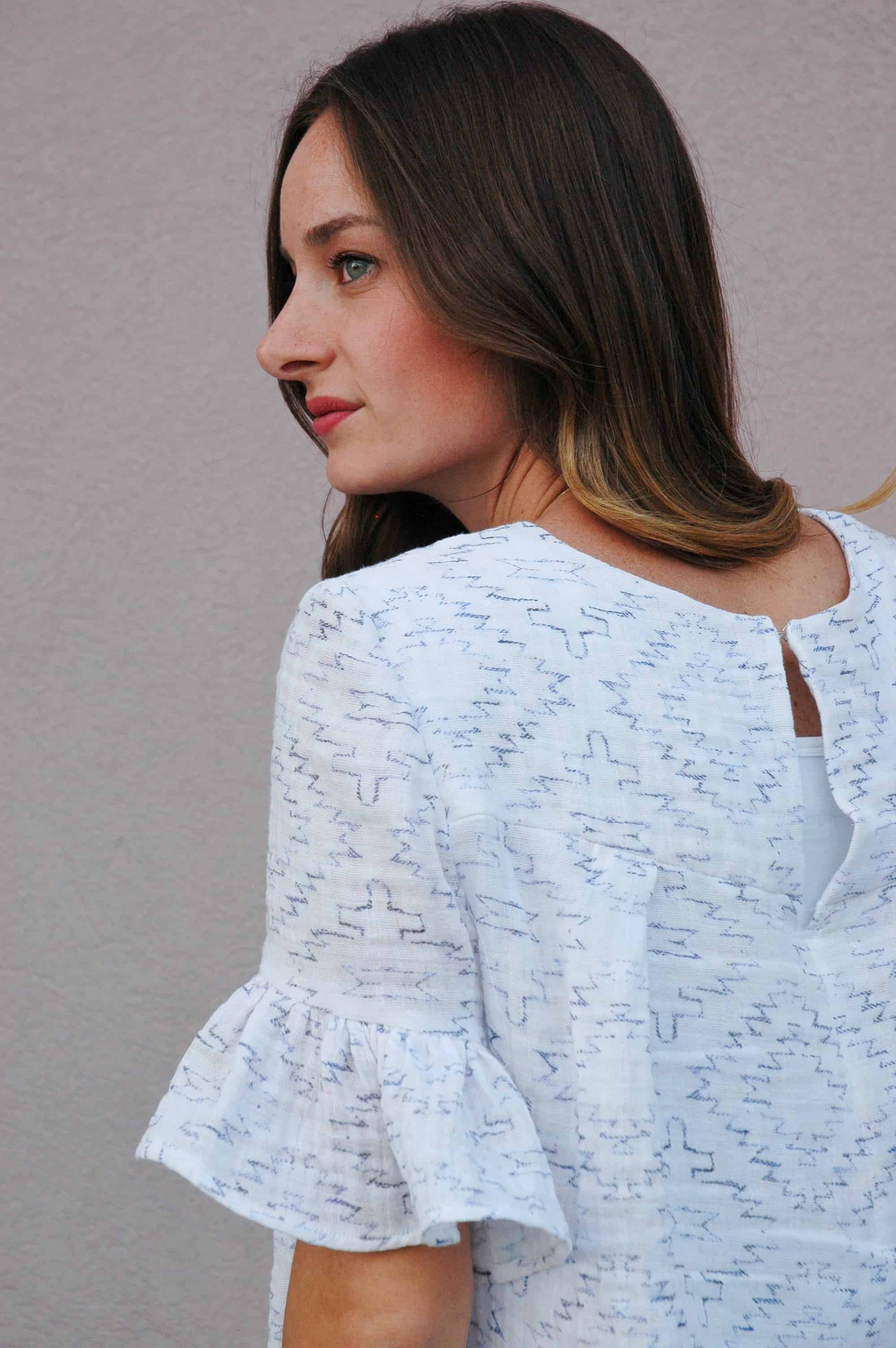 The finished blouse with a hook and eye closure | Spoonflower Blog