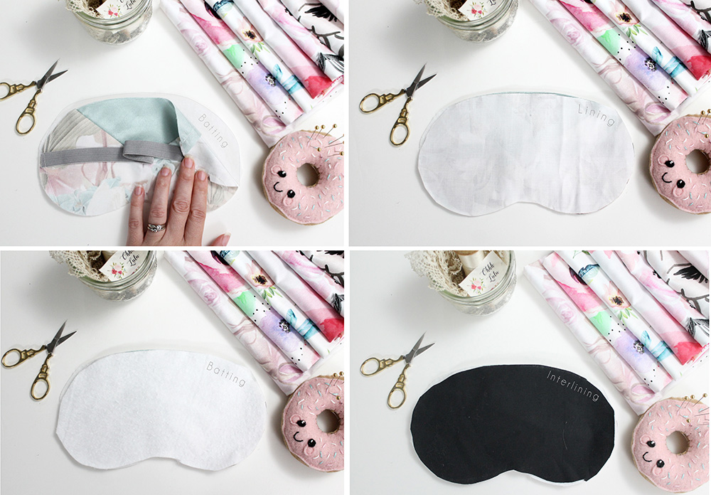 "Create a ""Sleep Mask Sandwich"" by layering your cut pieces of fabric 