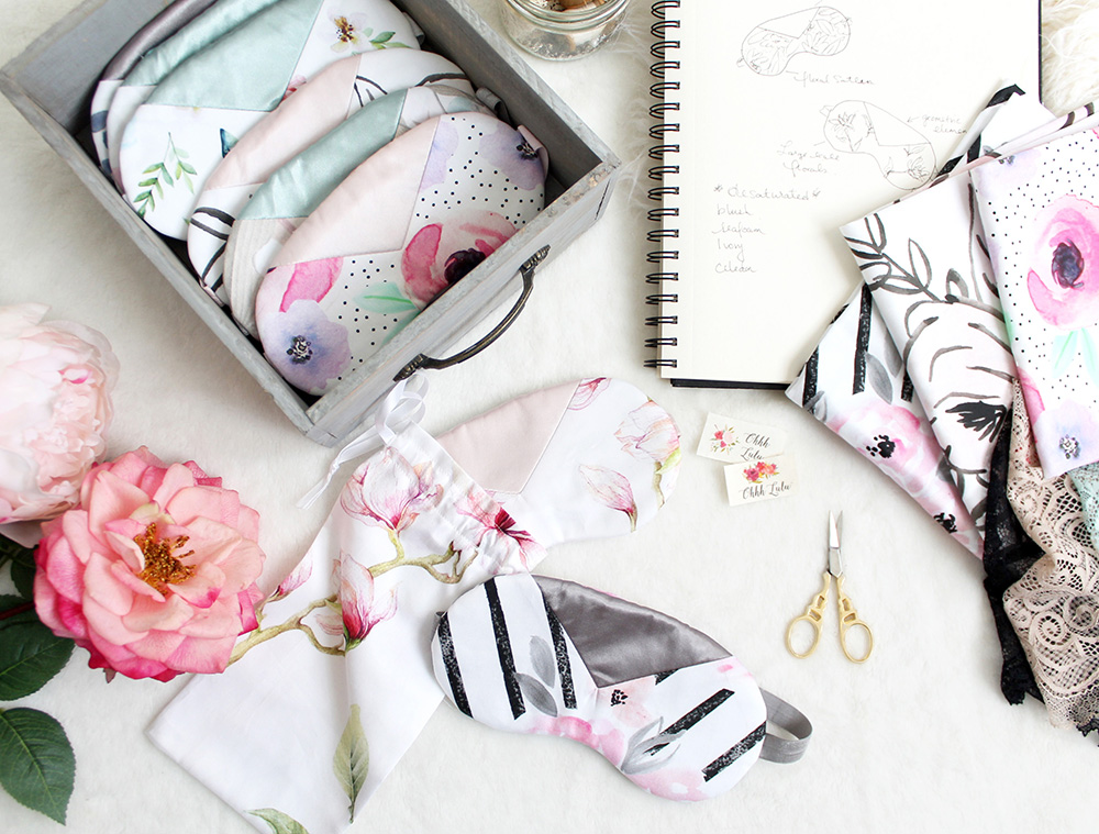 Simple and Sweet Bridal Party Sleep Masks - free pattern included! | Spoonflower Blog