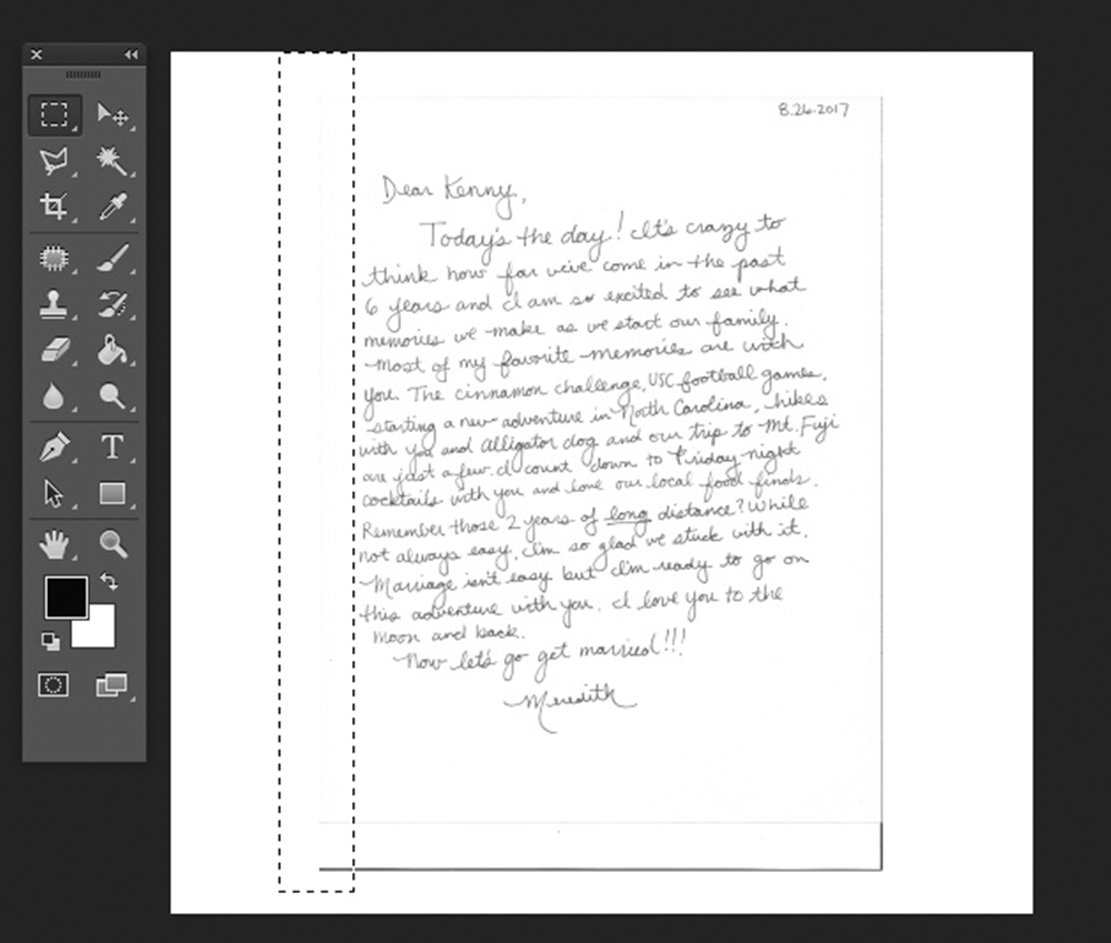Use the Rectangular Marquee Tool to remove shadows from your scanned image | Spoonflower Blog