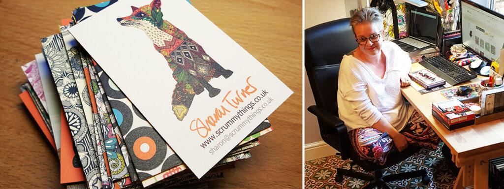 Scrummy in her studio | Spoonflower Blog