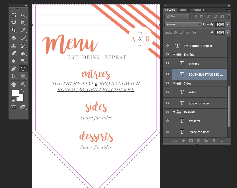 Using your layers and text tool, update the menu and event details | Spoonflower Blog